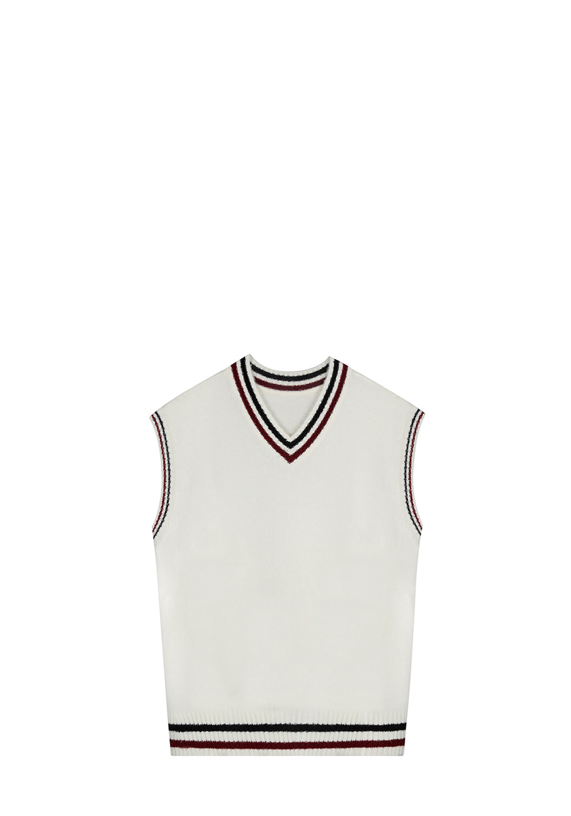 V511 TWO TONE VEST KNITWHITE