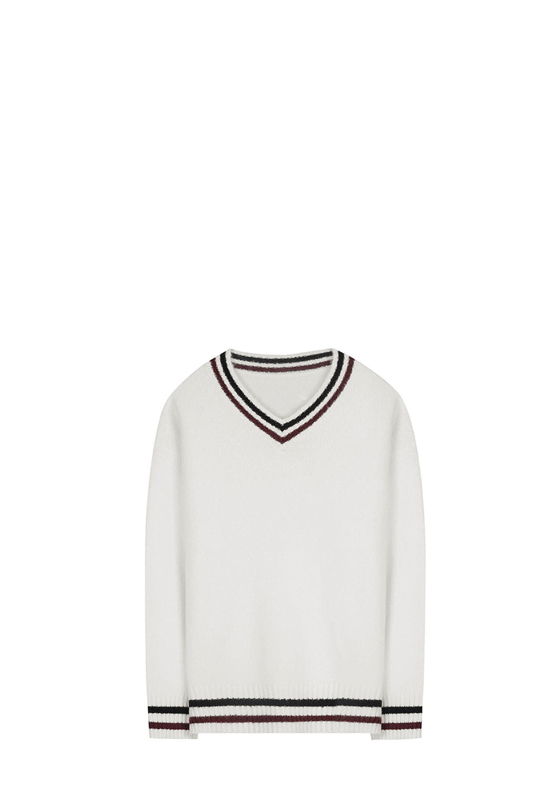 V512 TWO TONE V-NECK KNITWHITE