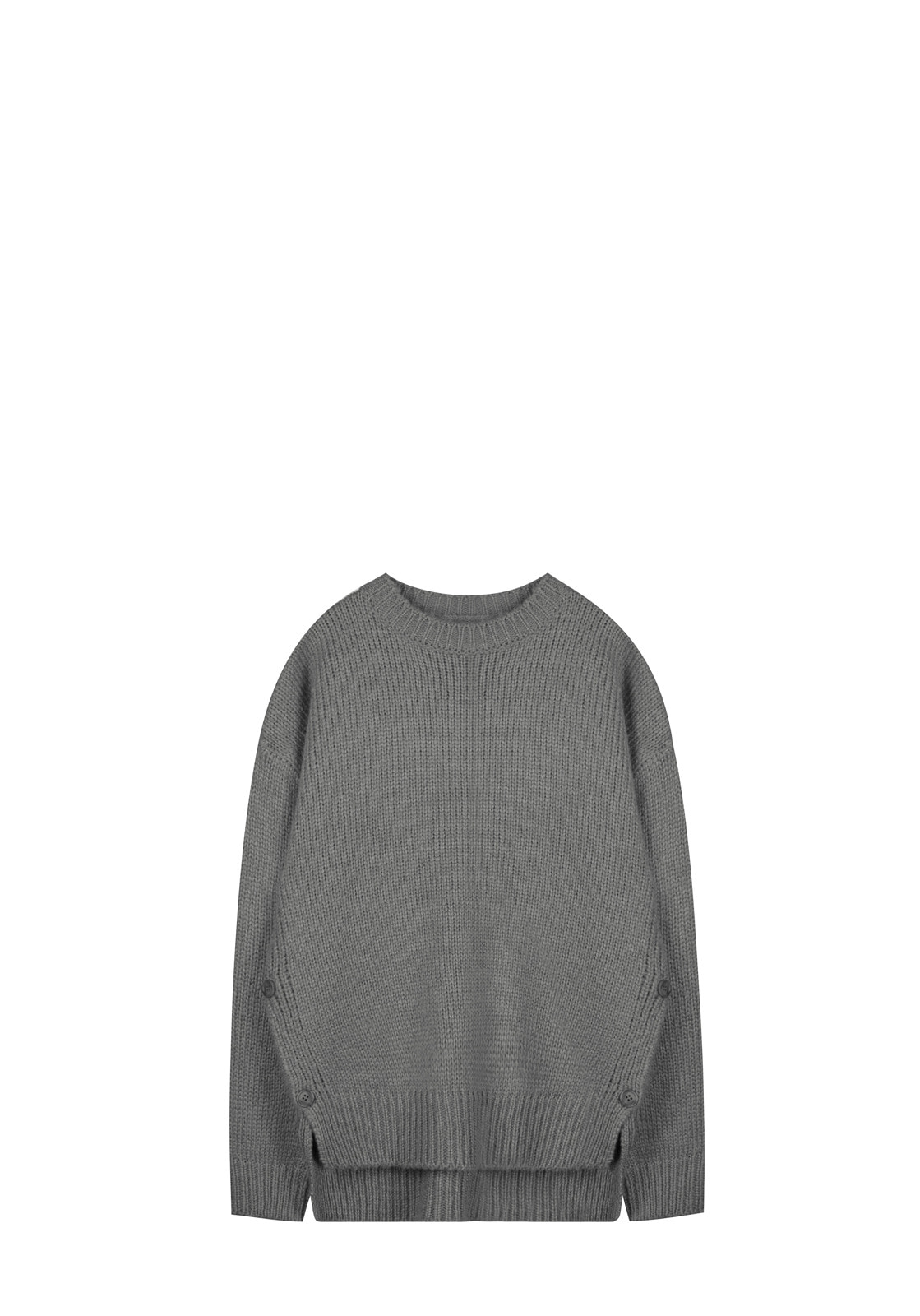 V521 SIDE BUTTON ROUND WOOL KNITGRAY