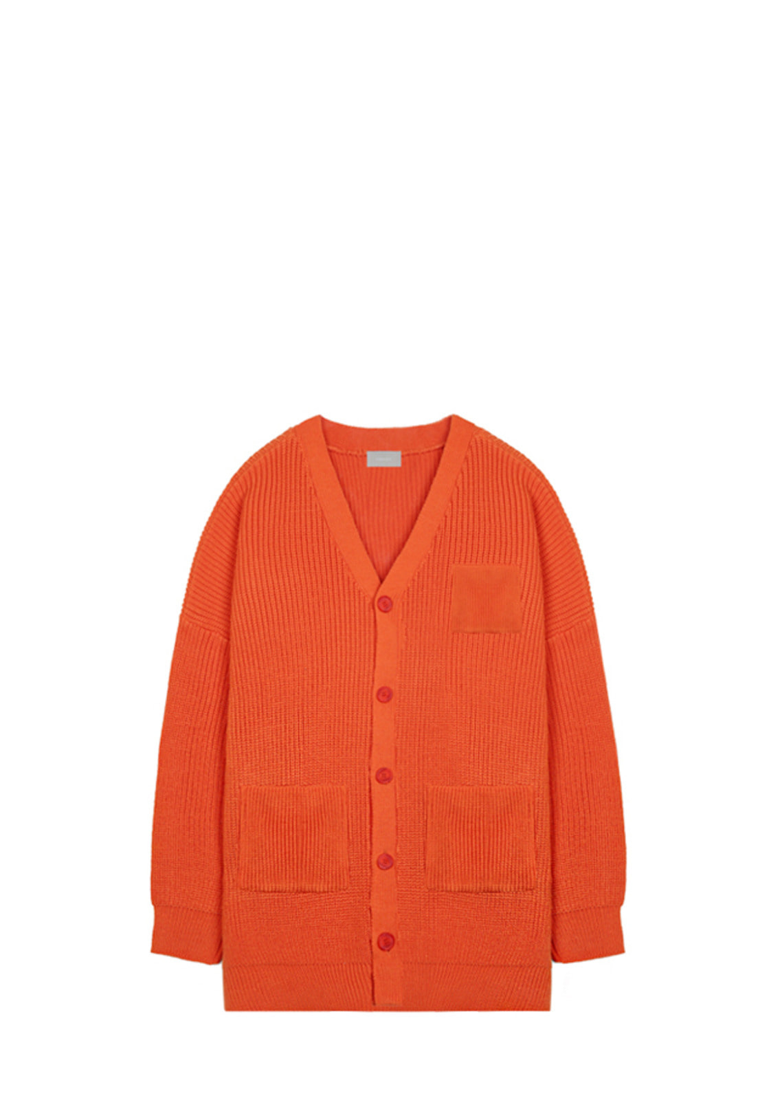 V533 WAFFLE HALF-LONG CARDIGAN  ORANGE