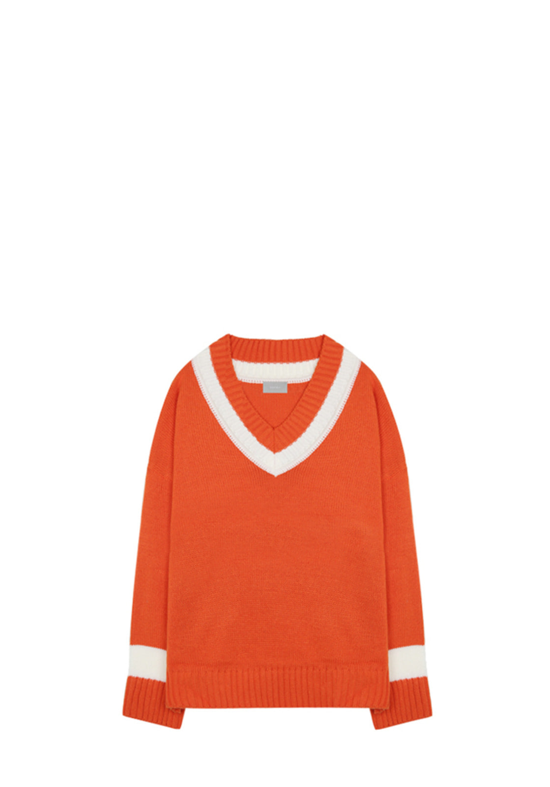 V531 DOUBLE V-NECK KNIT ORANGE