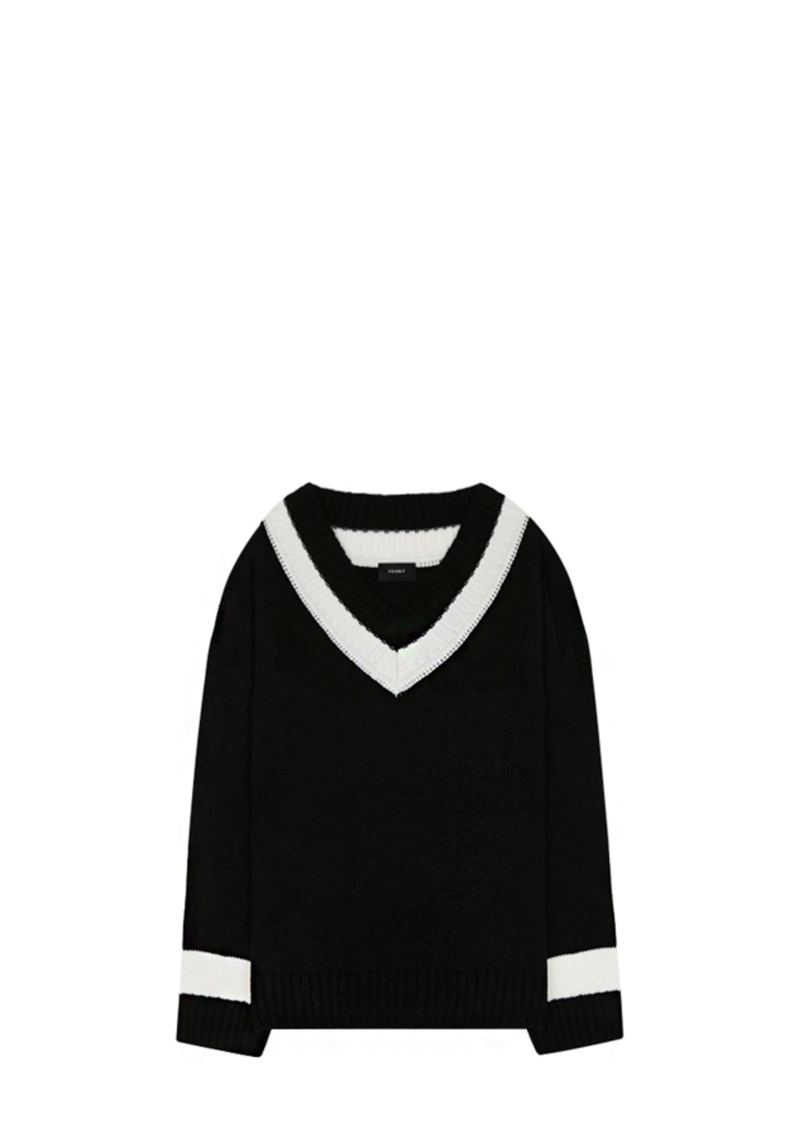 V531 DOUBLE V-NECK KNIT BLACK