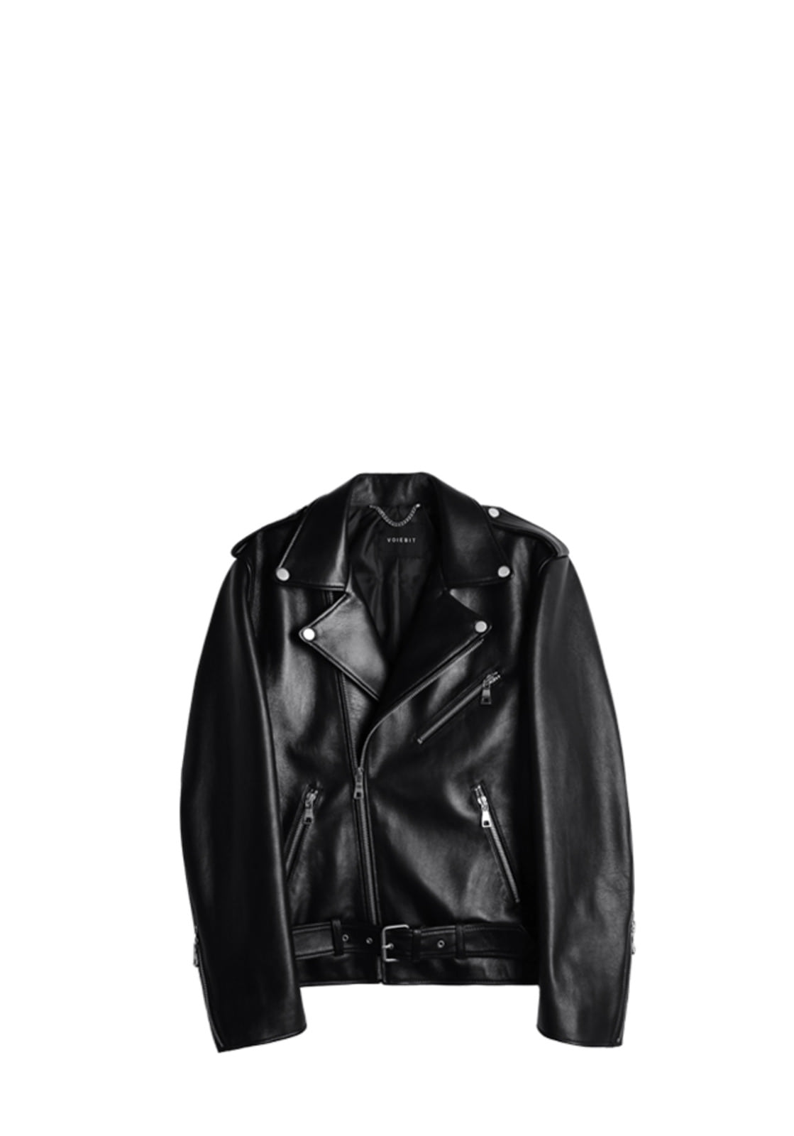 V622 V-RING LEATHER JACKET  BLACK