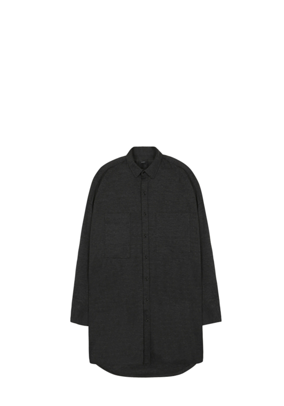 V423 SMOOTH OVERSIZE LONG SHIRT  CHARCOAL