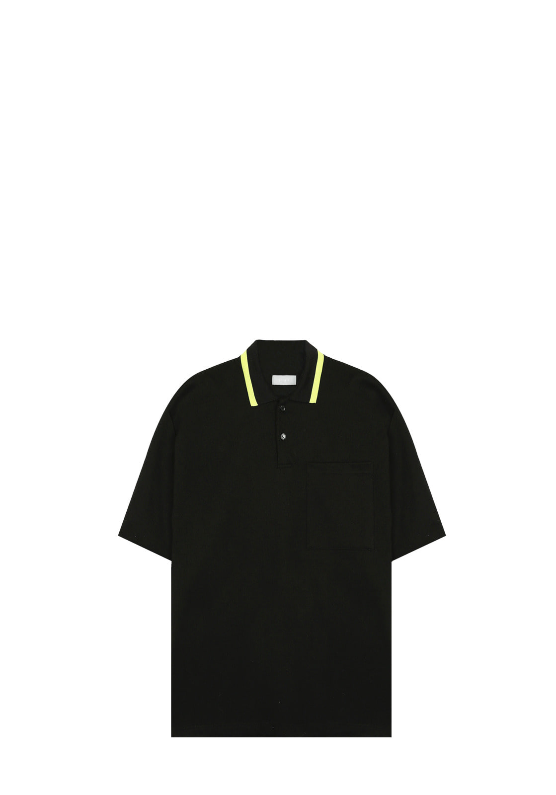 V327 LINE COLOR PIQUE SHIRT  BLACK