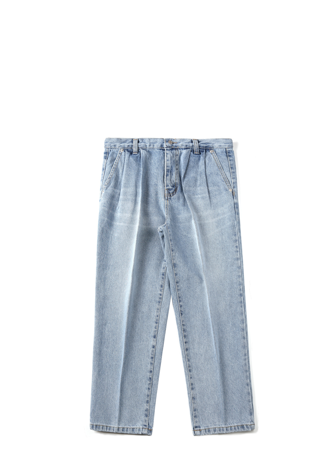 V233 TWO TUCK RETRO DENIM PANTS  LIGHT BLUE