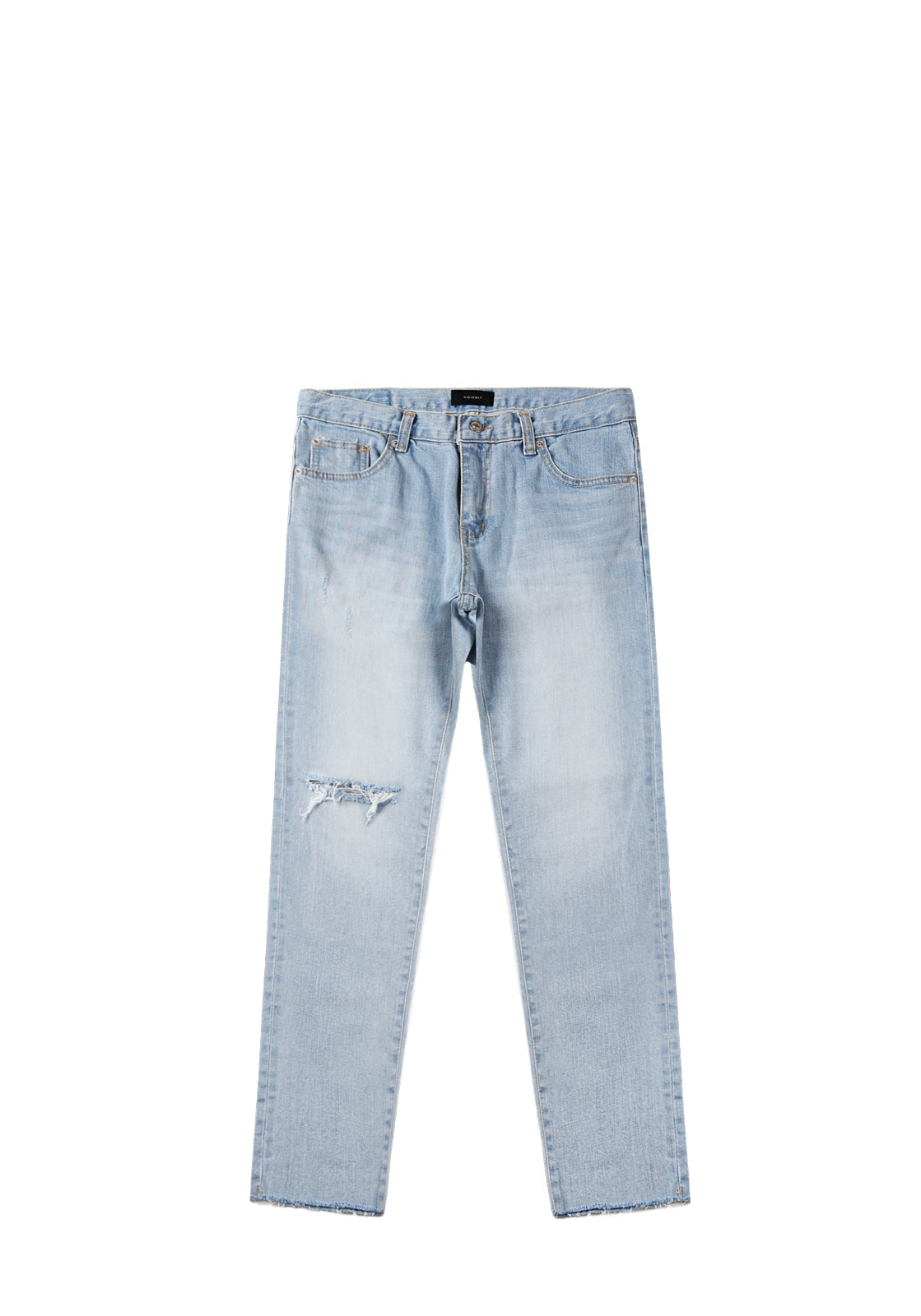 V234 DESTROYED CUTTING DENIM PANTS  LIGHT BLUE