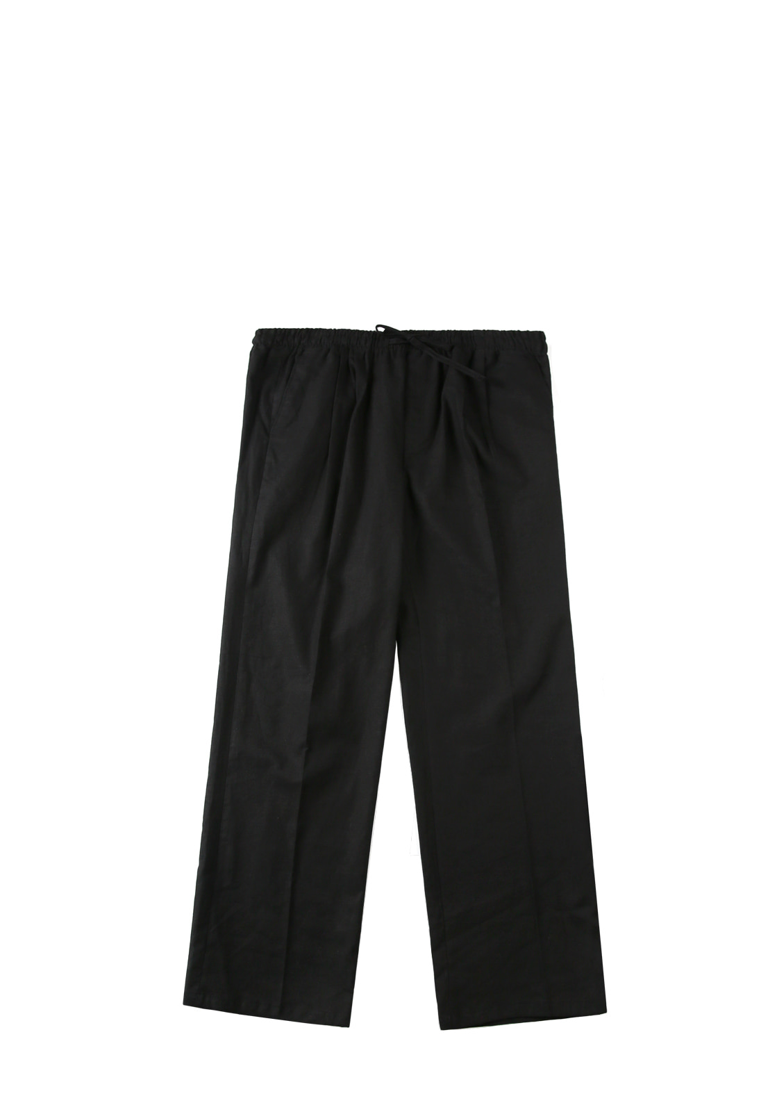 V240 LINEN WIDE PANTS  BLACK