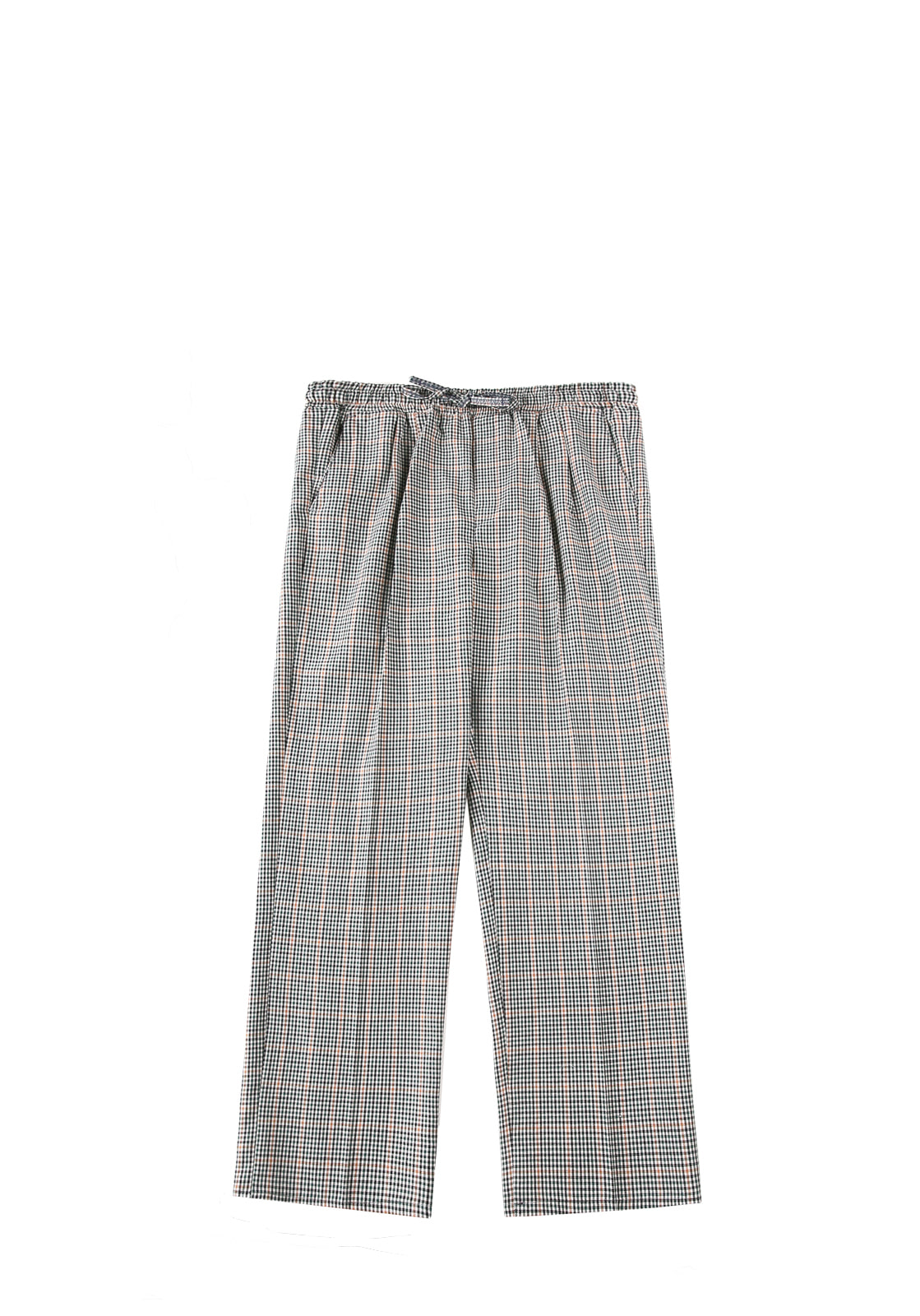 V241 CHECK WIDE PANTS  BROWN