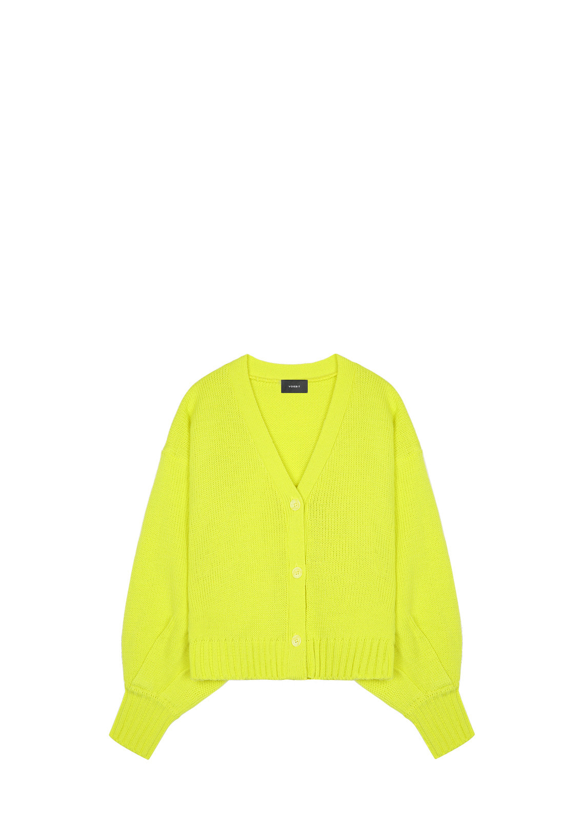 V534 BALLOON KNIT CARDIGAN  LIME