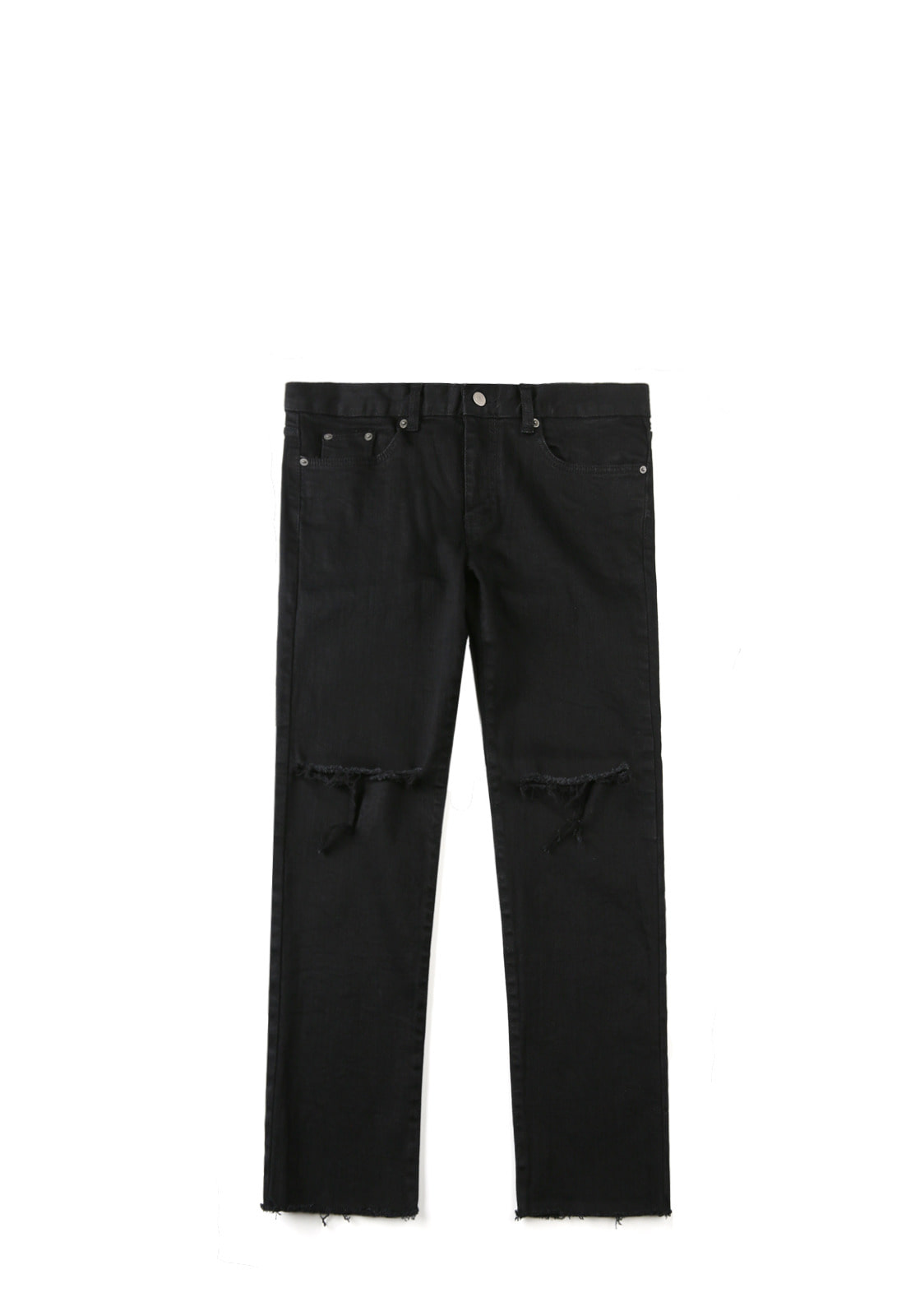 V242 T-LINE CUTTING DENIM PANTS  BLACK