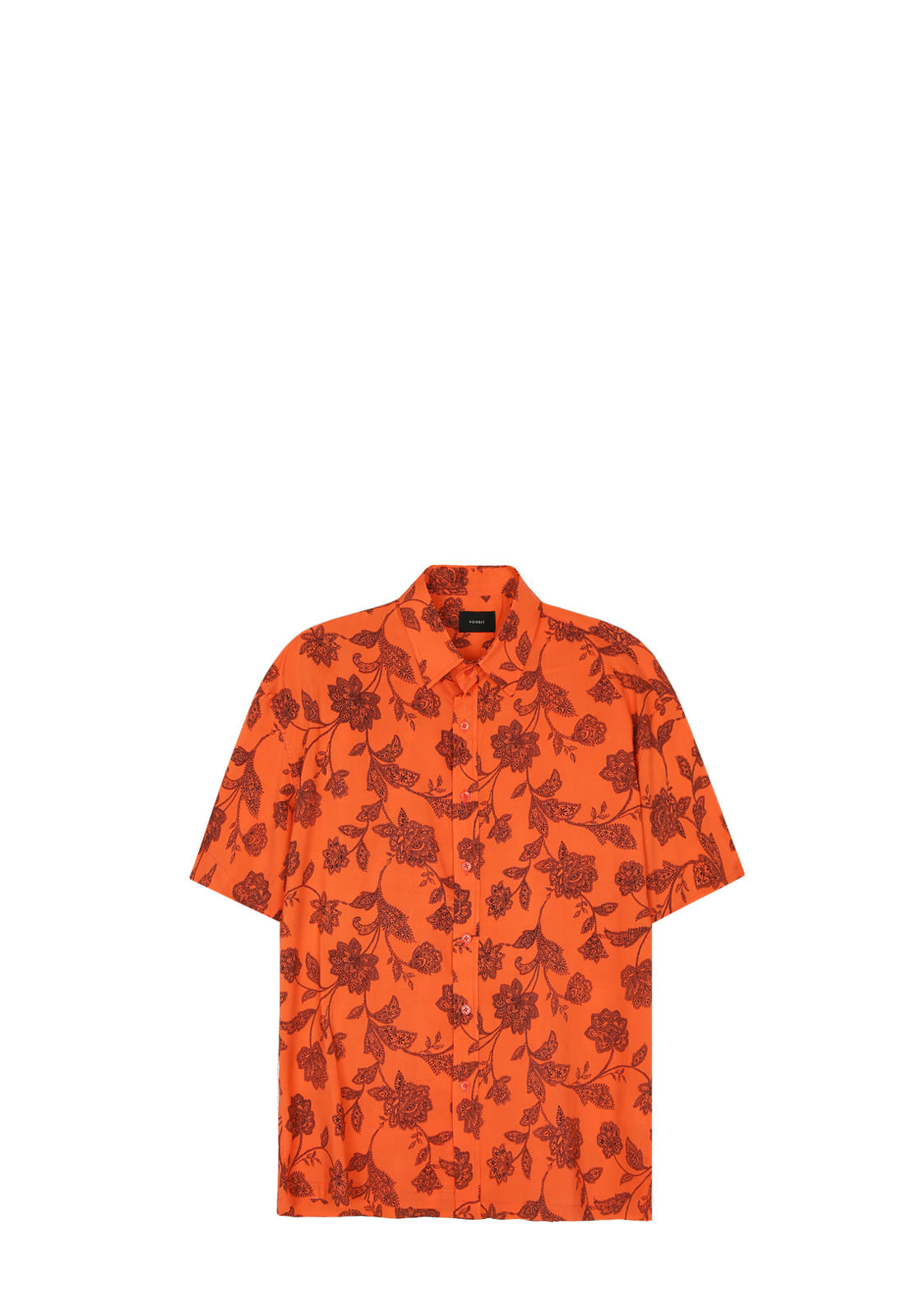 V432 DRAWING FLOWER HALF-SHIRT  ORANGE
