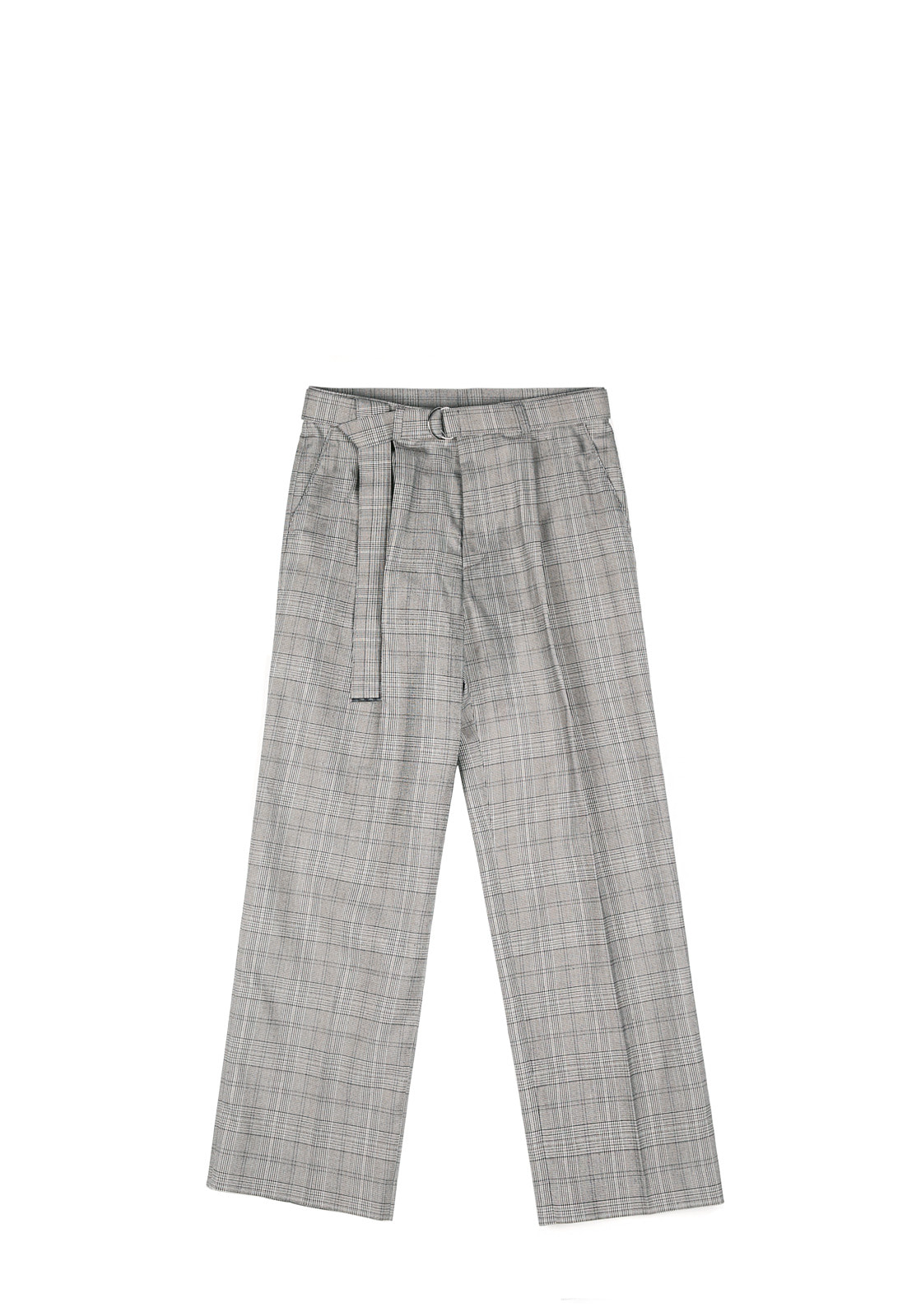 V251 CHECK BELT WIDE SLACKS