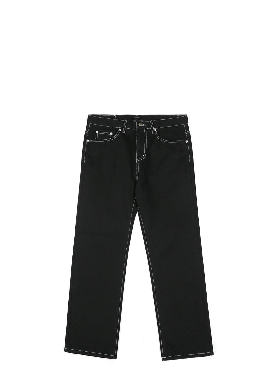 V253 STITCH BLACK WIDE DENIM PANTS  BLACK