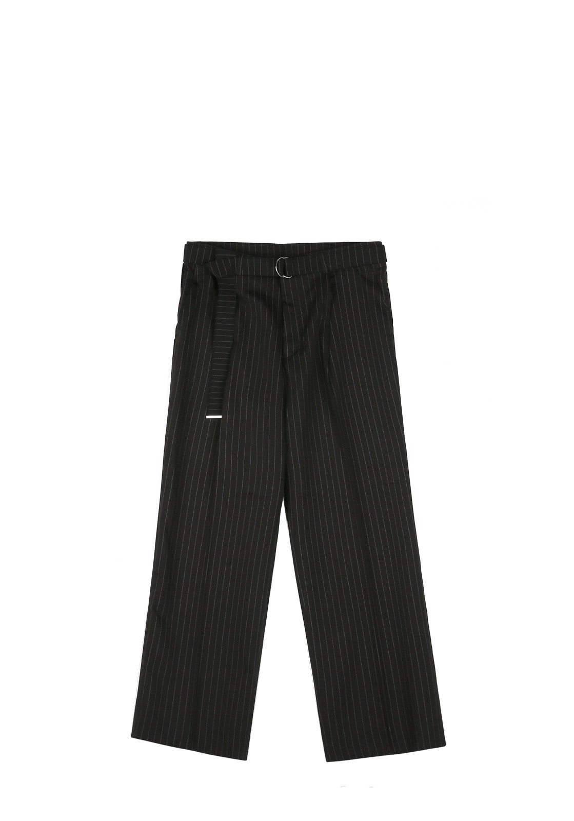 V252 STRIPE BELT WIDE SLACKS  BLACK