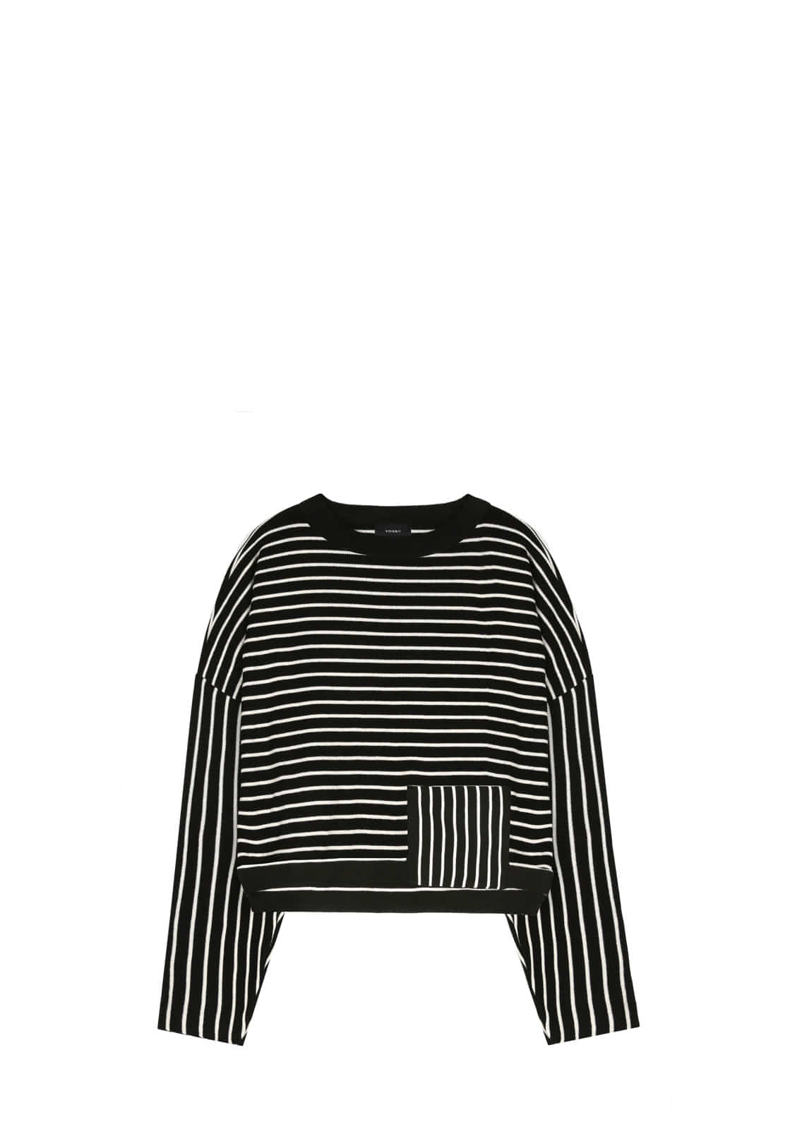 V543 STRIPE CROP KNIT  BLACK