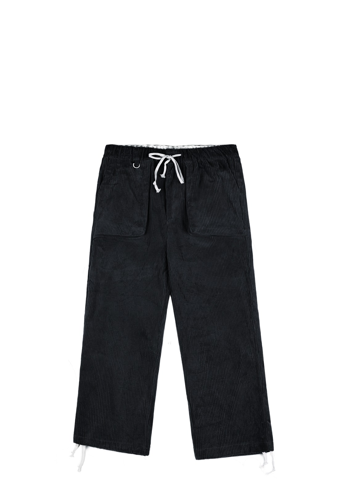 V255 SOLID CORDUROY WIDE PANTS  BLACK
