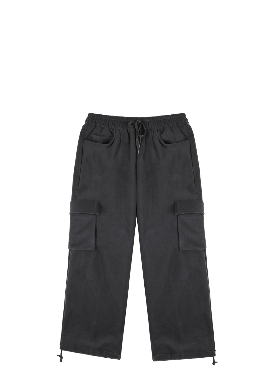 V254 FLEECE CARGO WIDE PANTS  CHARCOAL