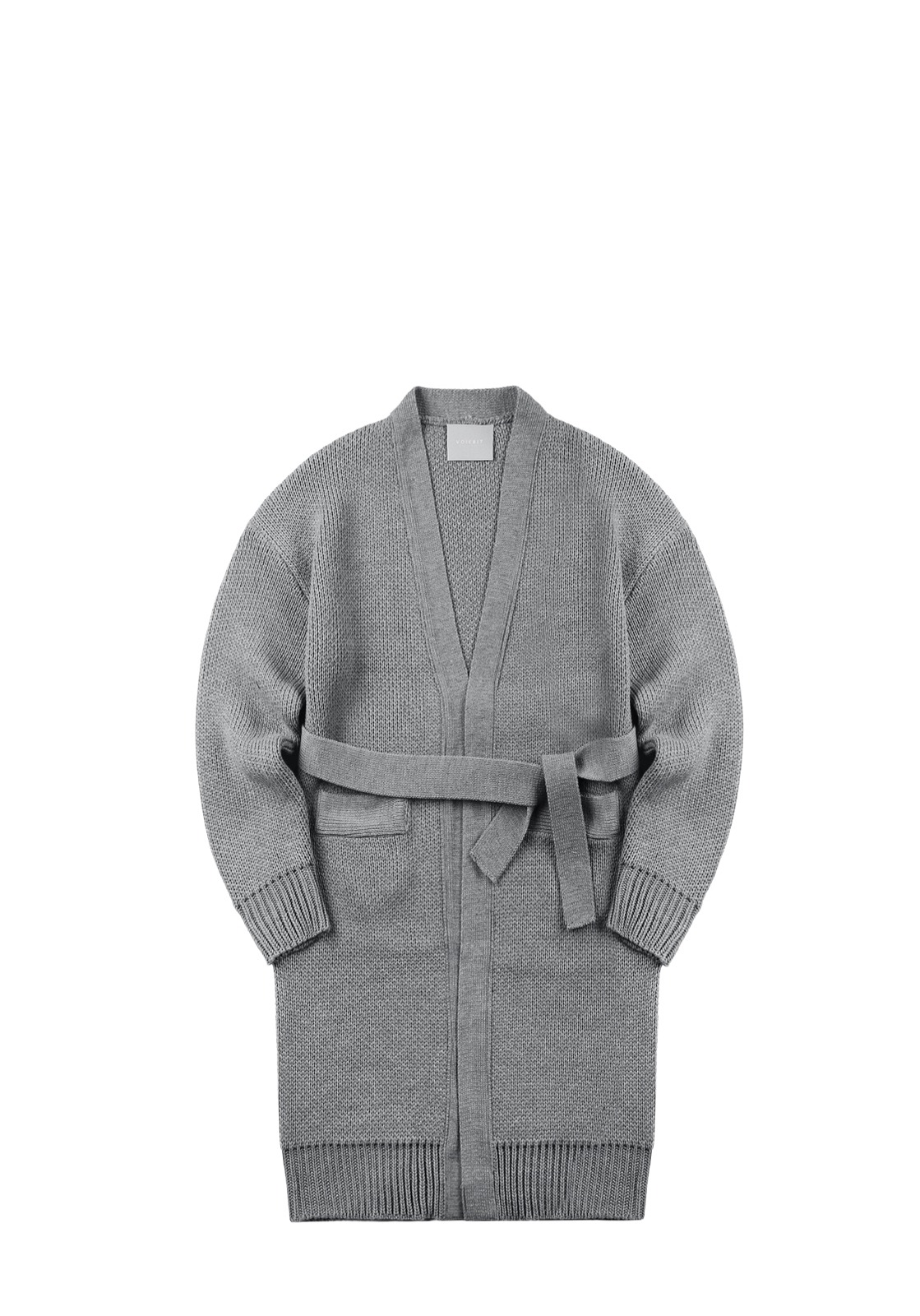 V550 WEIGHT OVERSIZE WOOL LONG CARDIGAN  GRAY