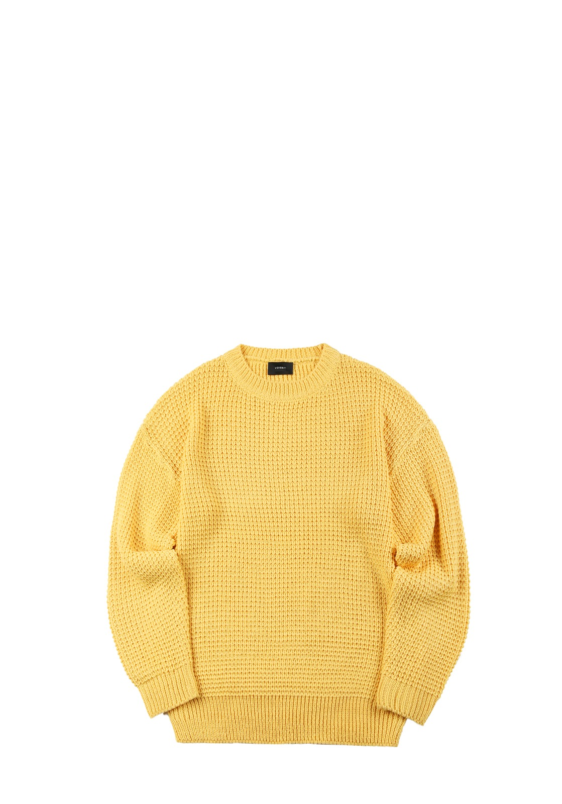 V551 WAFFLE OVERFIT ROUND KNIT  YELLOW
