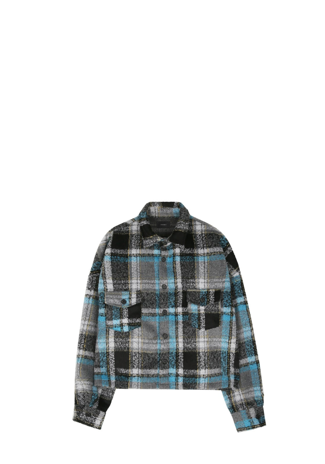 V445 CHECK CROP FLANNEL SHIRTS  SKYBLUE