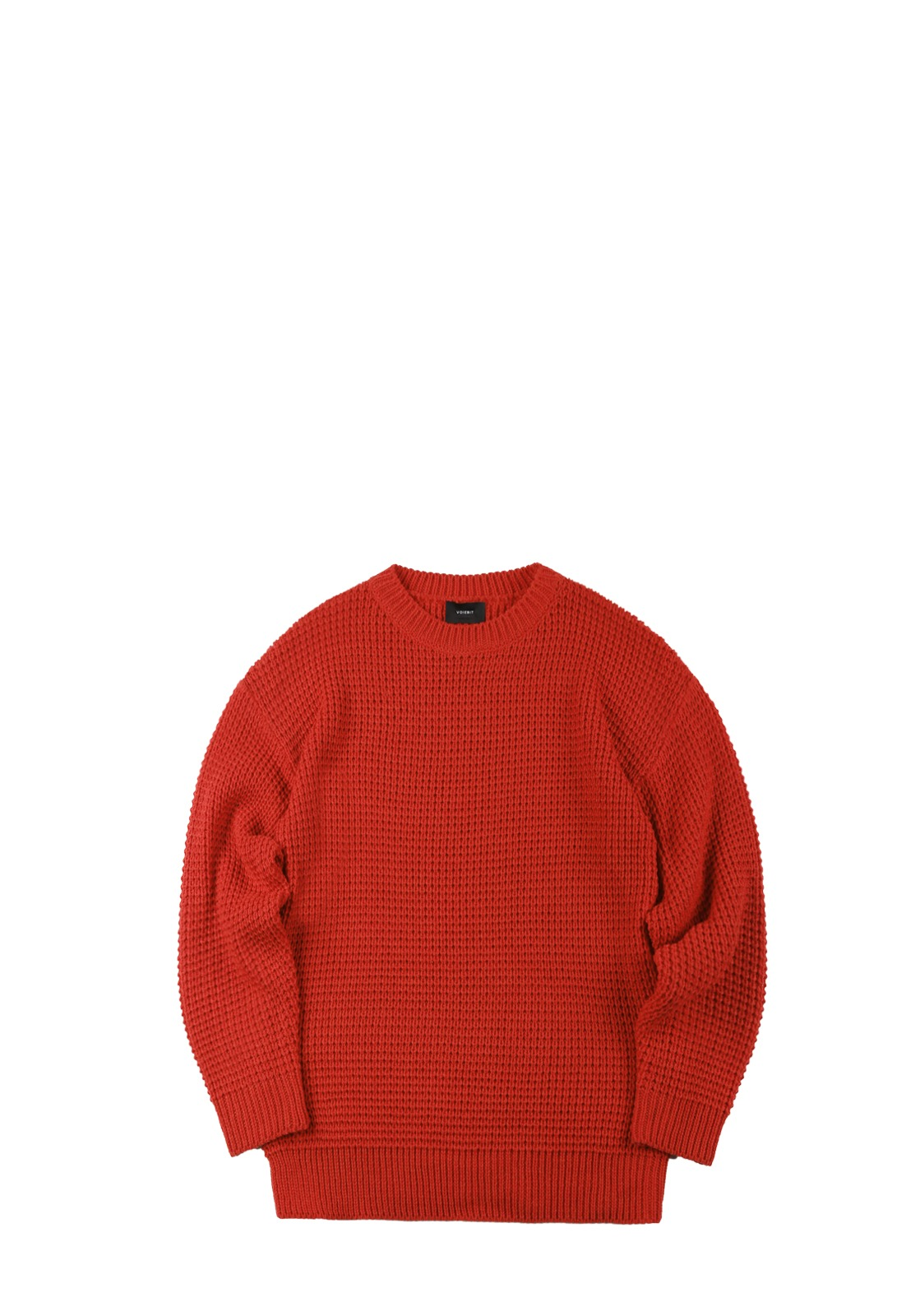 V551 WAFFLE OVERFIT ROUND KNIT   RED