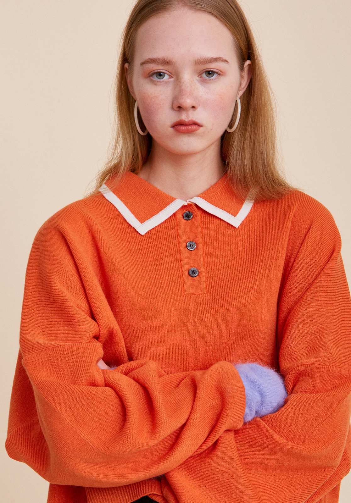 V567 OVER-FIT CROP COLLAR KNIT  ORANGE