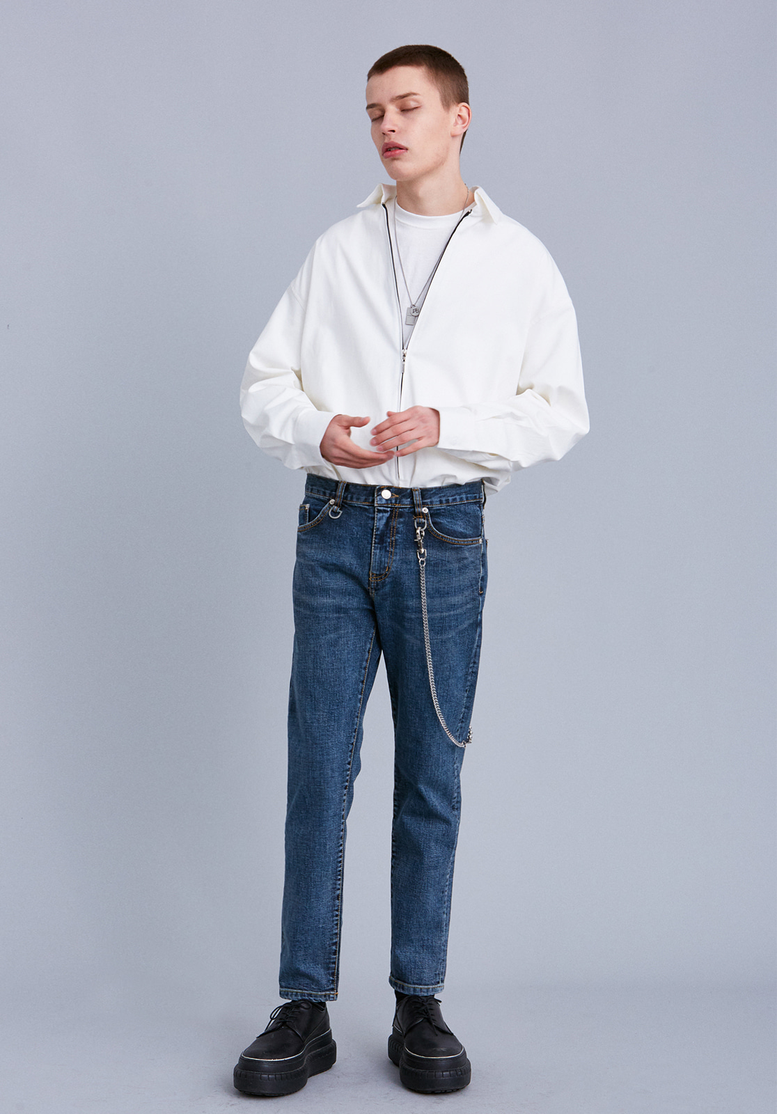 V260 NARROW WASHING CROP SLIM  JEANS  BLUE