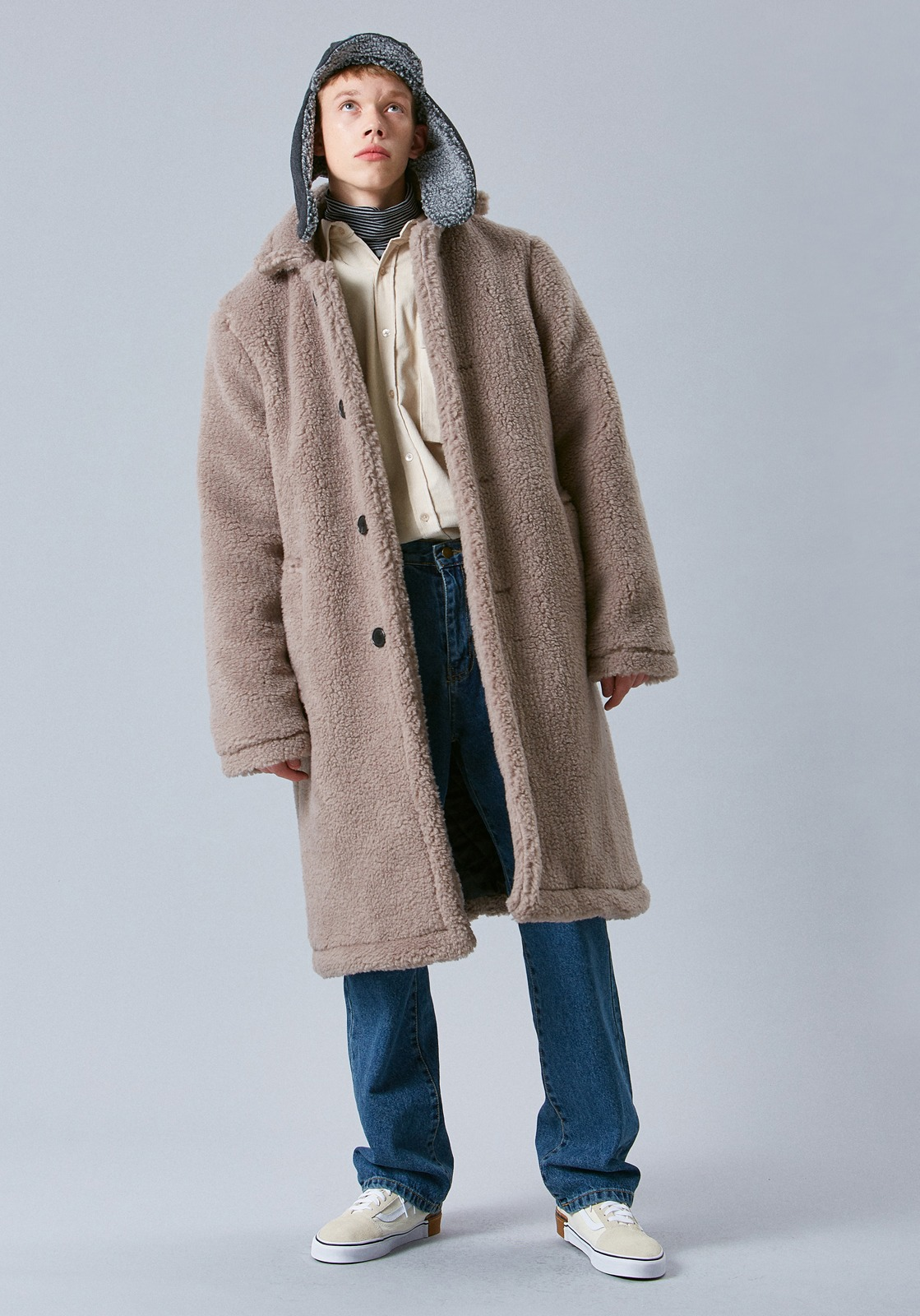 V636 BELF SINGLE OVERSIZE COAT  BEIGE