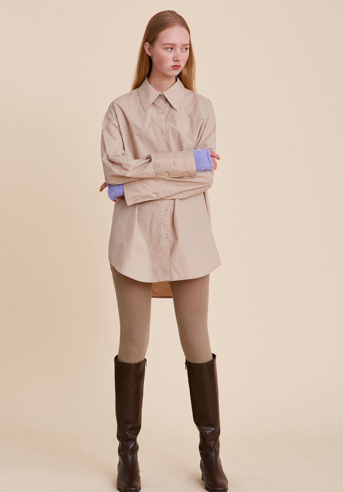 V449 COATING OVERSIZE SHIRT  BEIGE
