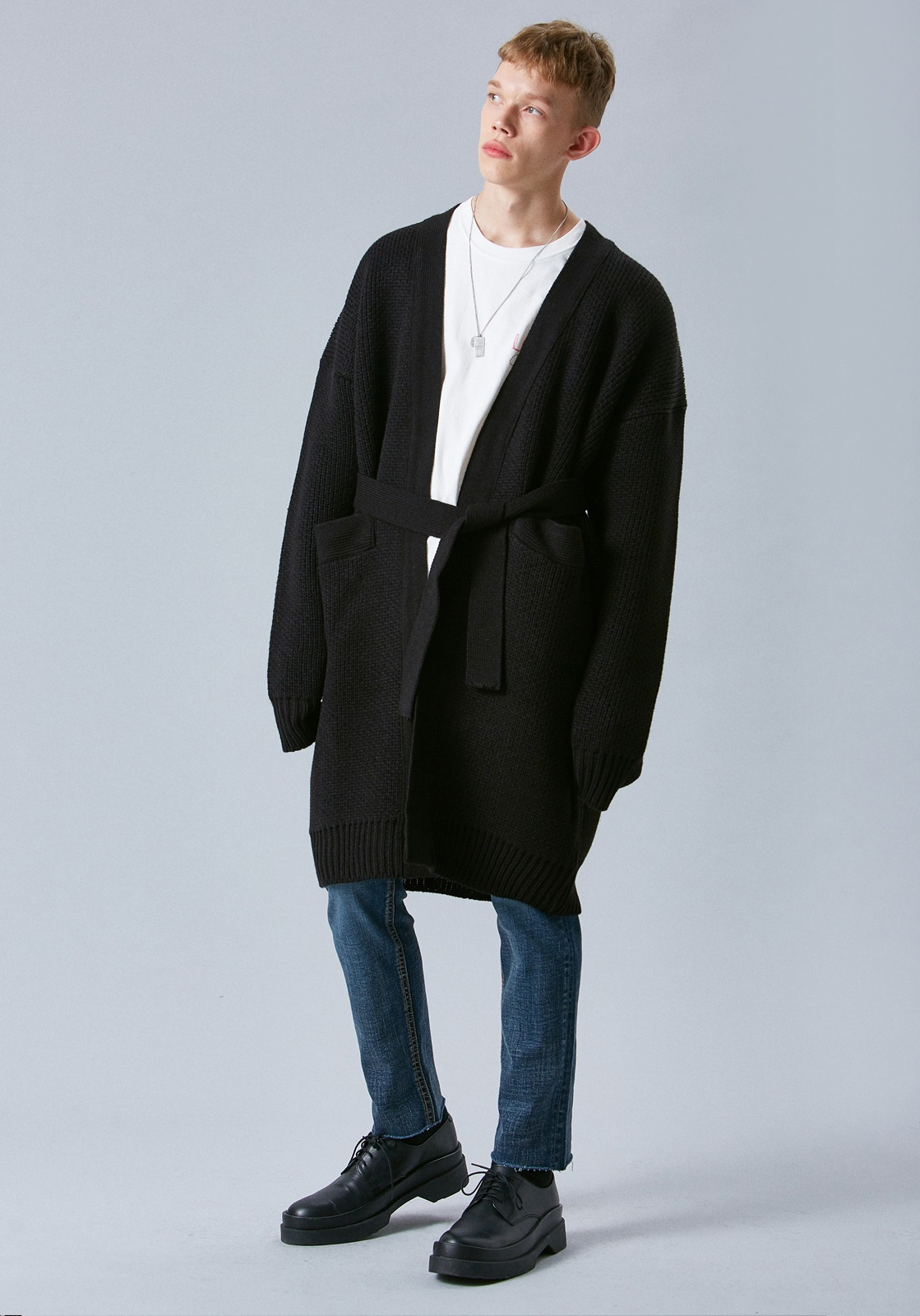 V550 WEIGHT OVERSIZE WOOL LONG CARDIGAN  BLACK