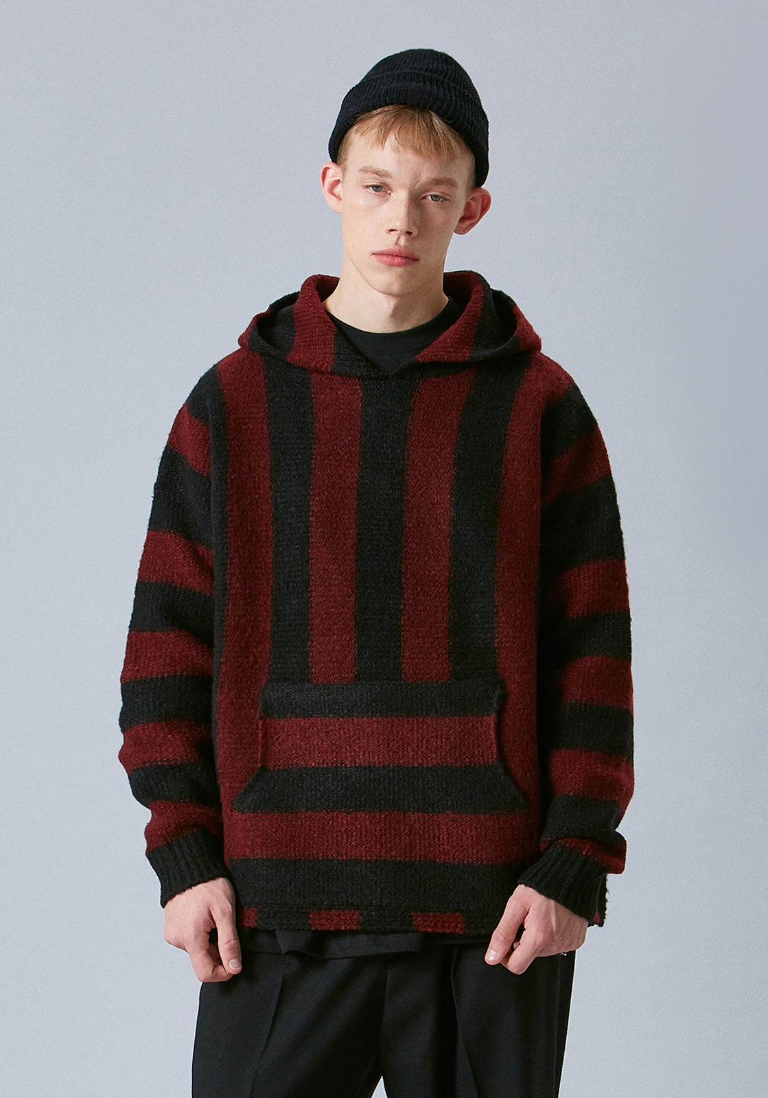 V554 OVERSIZE STRIPE WOOL HOOIDE KNIT  BLACK