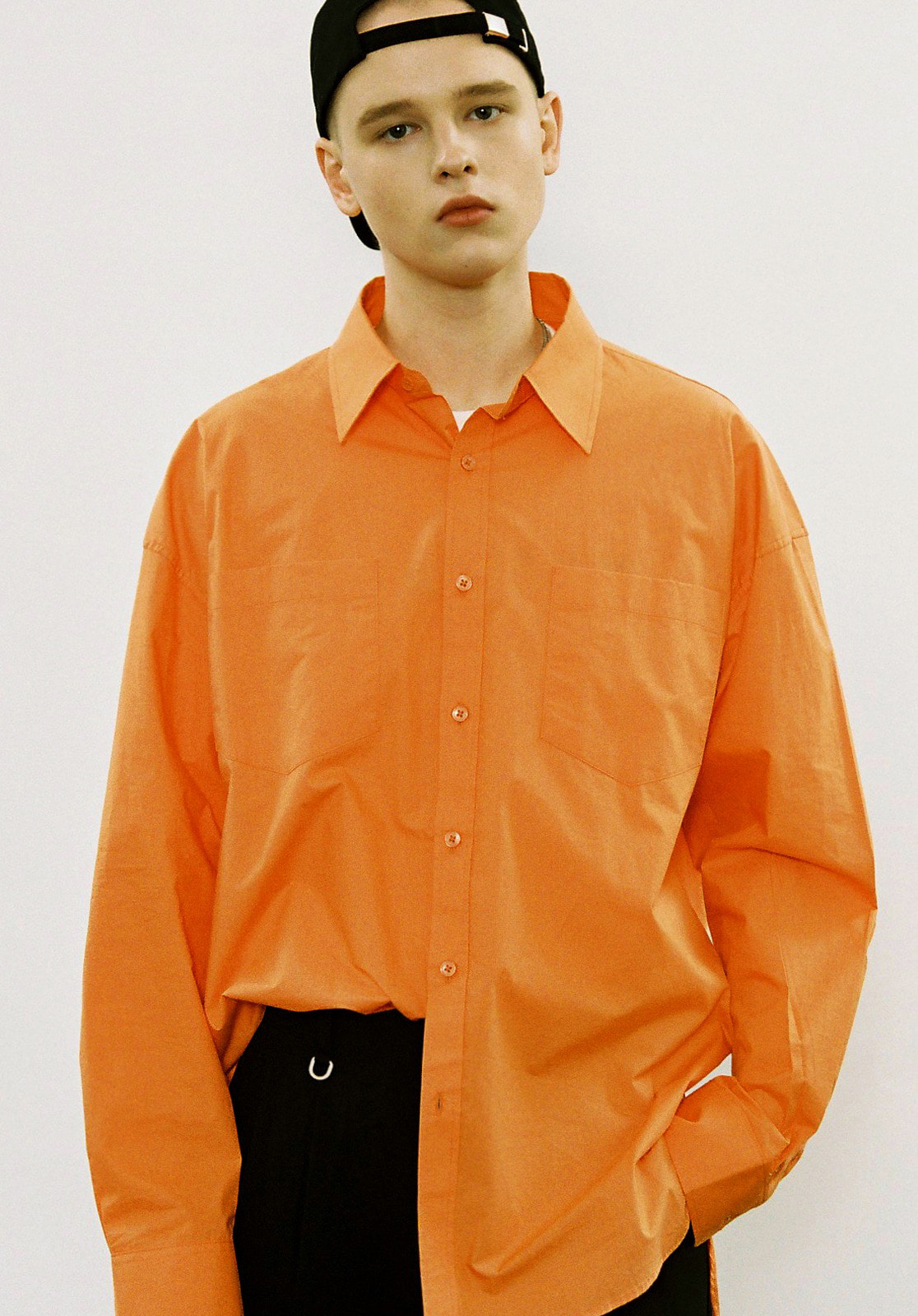 V450 POCKET UNBAL OVERFIT SHIRT  ORANGE