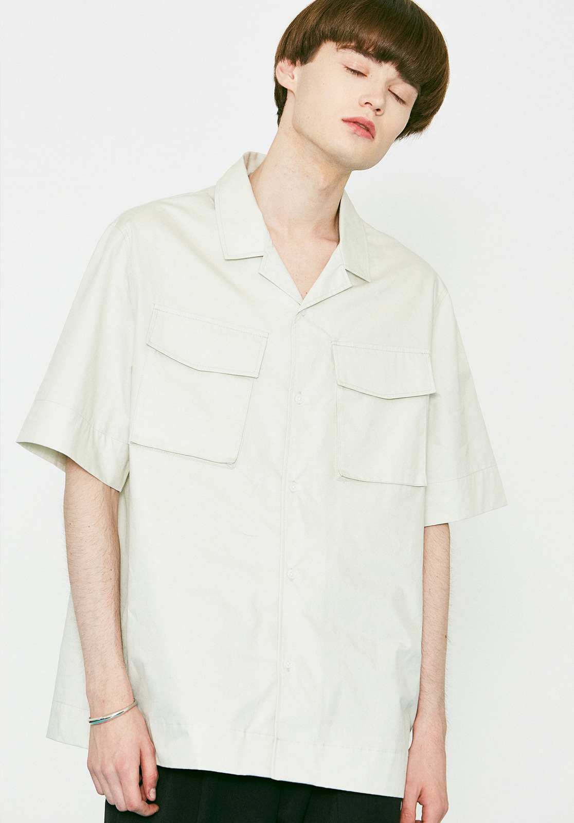 V456 TWO POCKET HALF-SHIRTS LIGHT GRAY