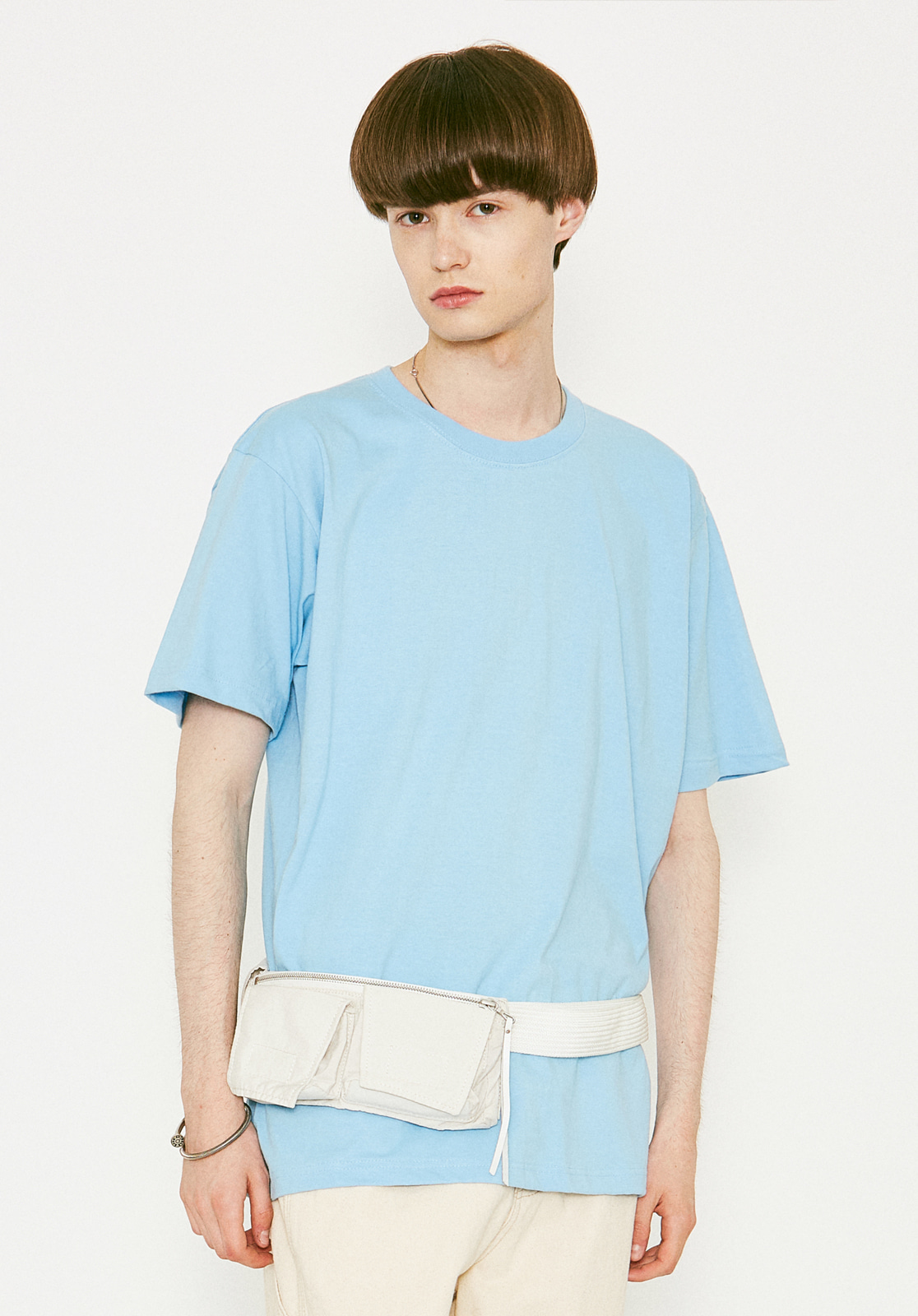 V367 BASIC OVER FIT HALF-TEE SKYBLUE