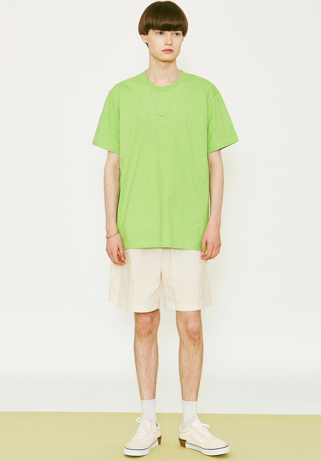 V367 BASIC OVER FIT HALF-TEE YELLOWGREEN
