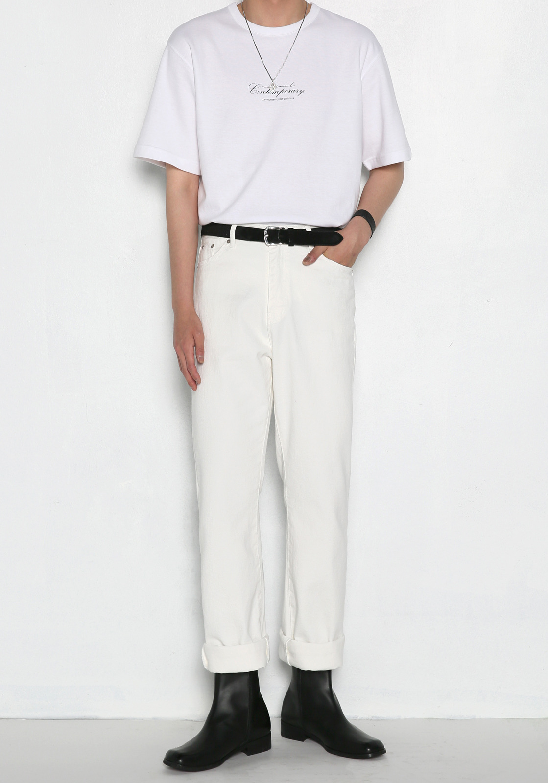 V232 NONE SPAN WIDE DENIM PANTS  WHITE