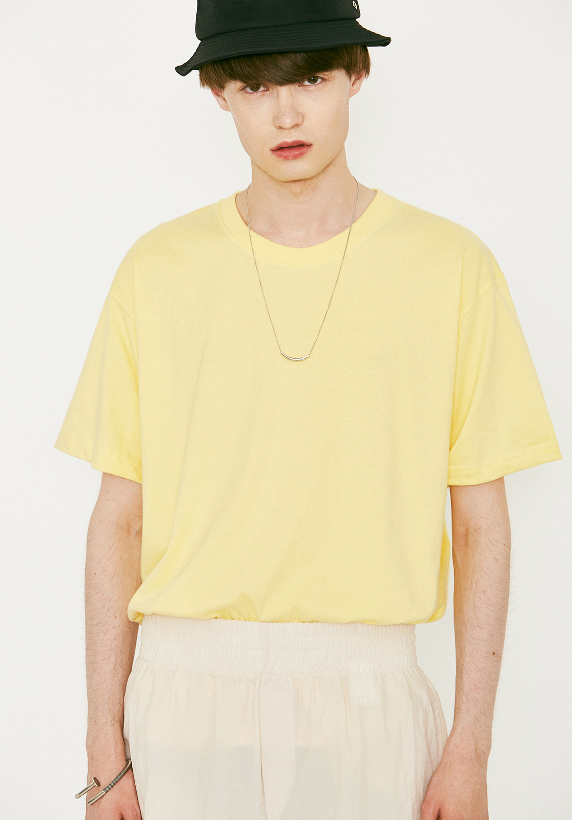 V367 BASIC OVER FIT HALF-TEE YELLOW