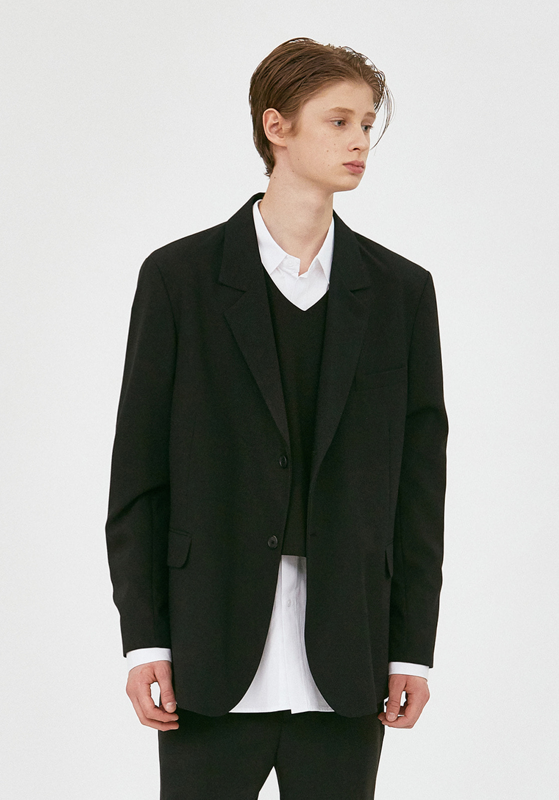 V643 WRINKLE OVERSIZE SINGLE JACKET  BLACK