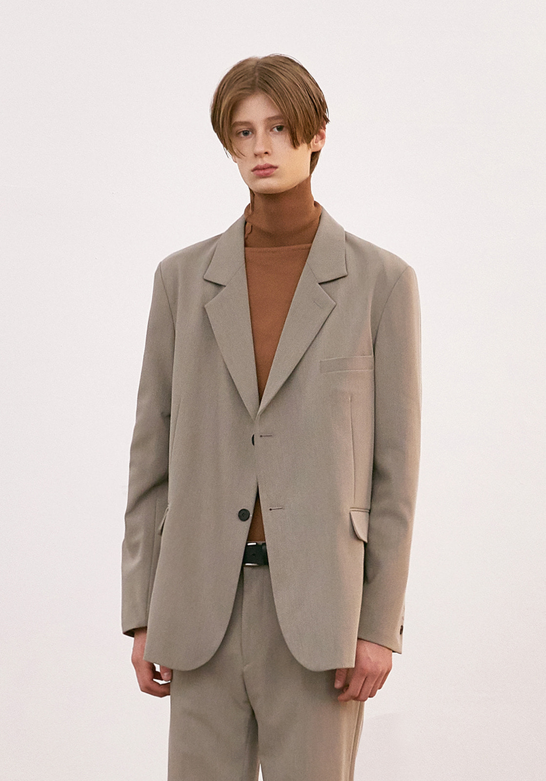 V643 WRINKLE OVERSIZE SINGLE JACKET  BEIGE