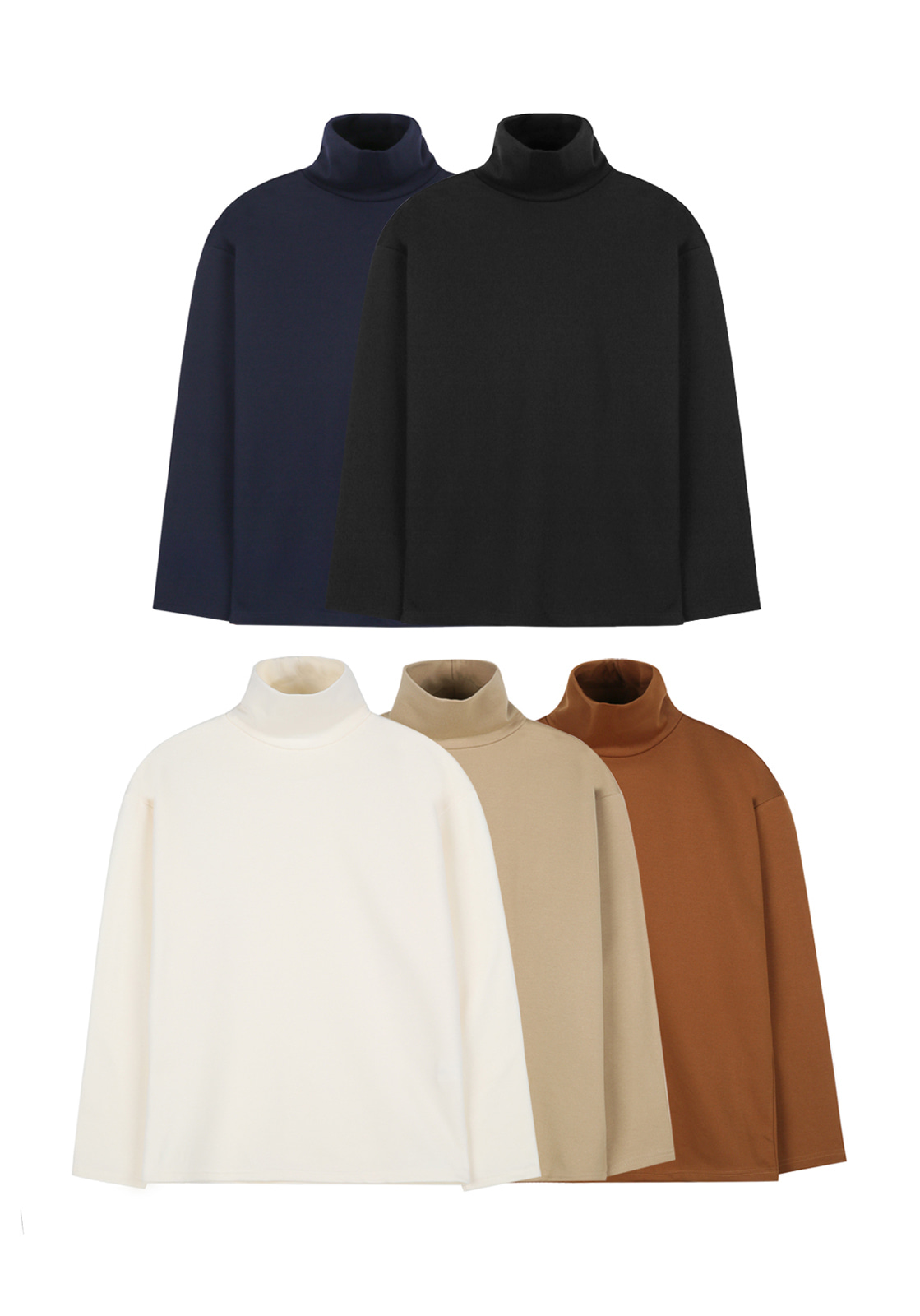 [세트구성]V375 NAPPING TURTLENECK KNIT TEE  5 COLOR