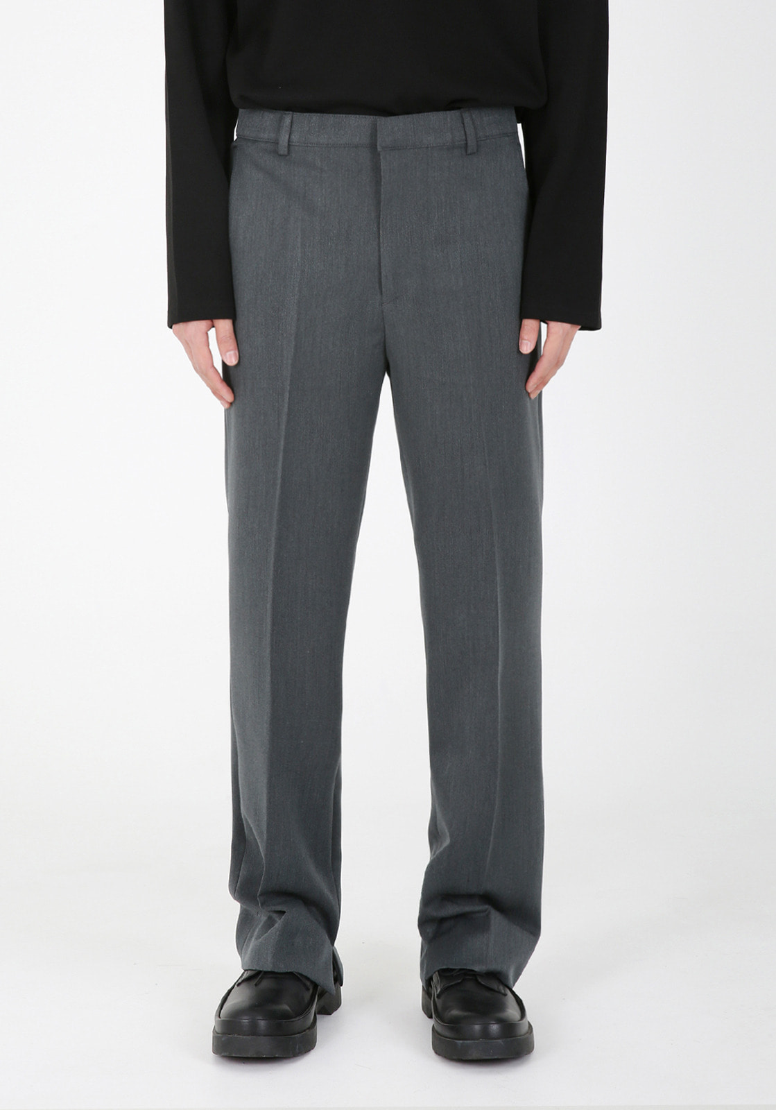 V310 ELIN CUTTING WIDE SLACKS  GRAY