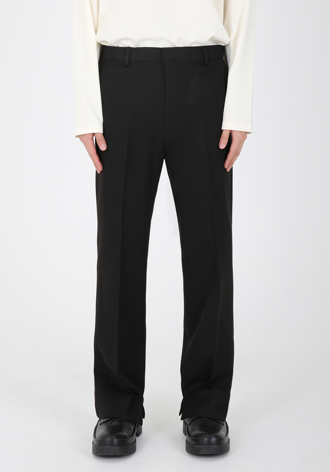 V310 ELIN CUTTING WIDE SLACKS  BLACK