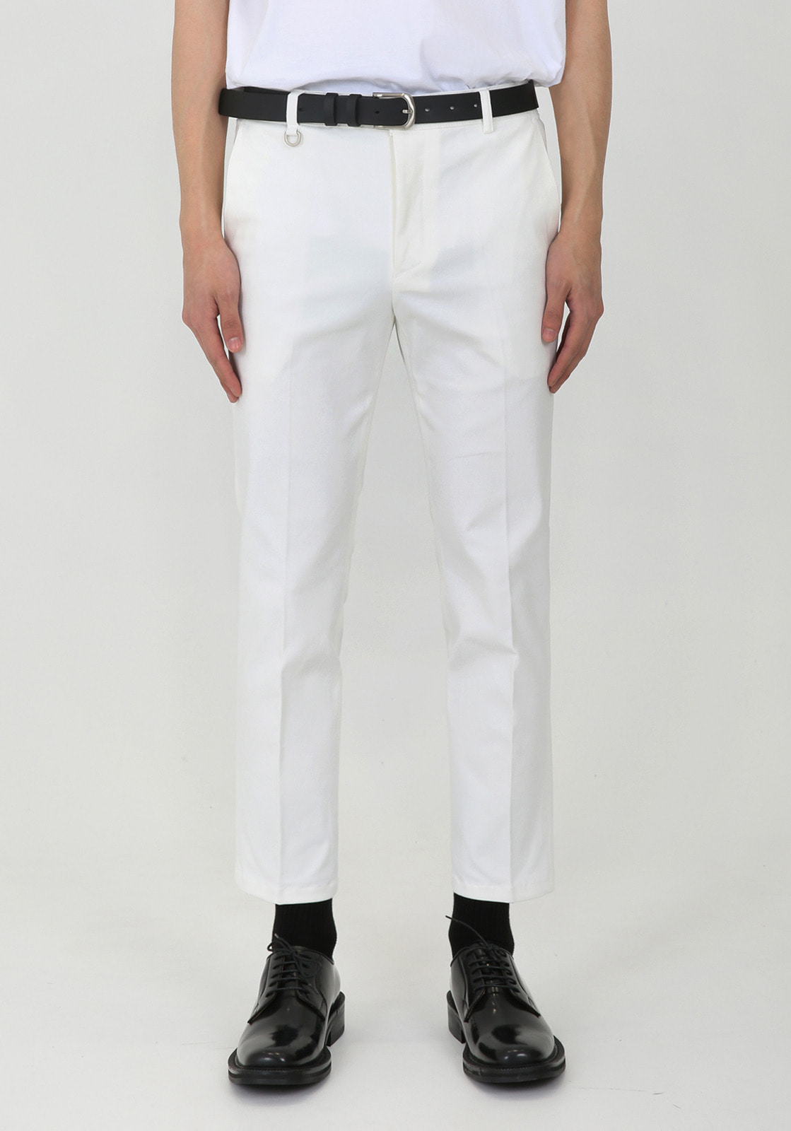 V311 JAMES BANDDING CROP CHINO PANTS  IVORY