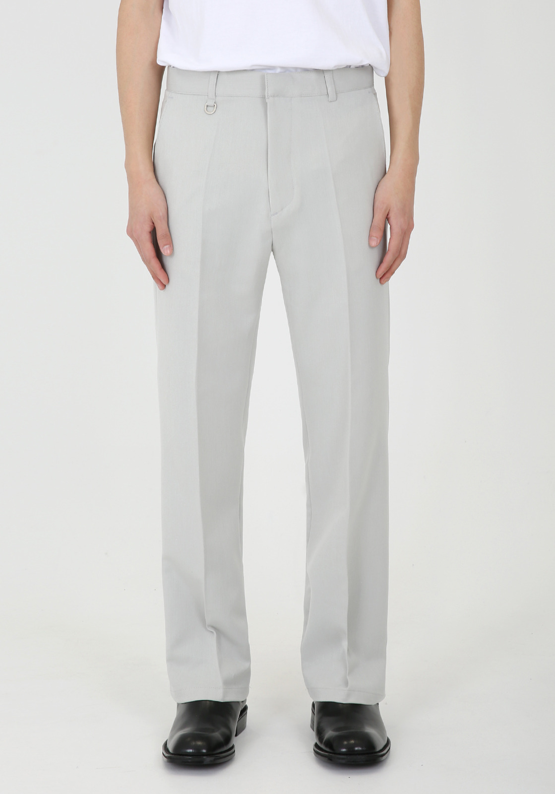 V304 LETO SLIM WIDE SLACKS  LIGHT GRAY