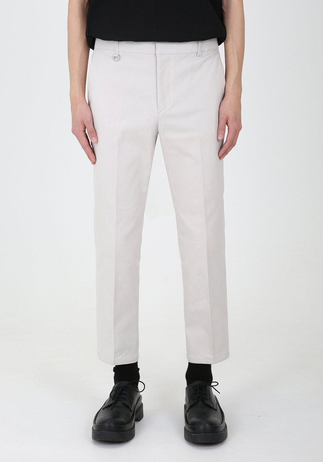 V311 JAMES BANDDING CROP CHINO PANTS  LIGHT BEIGE