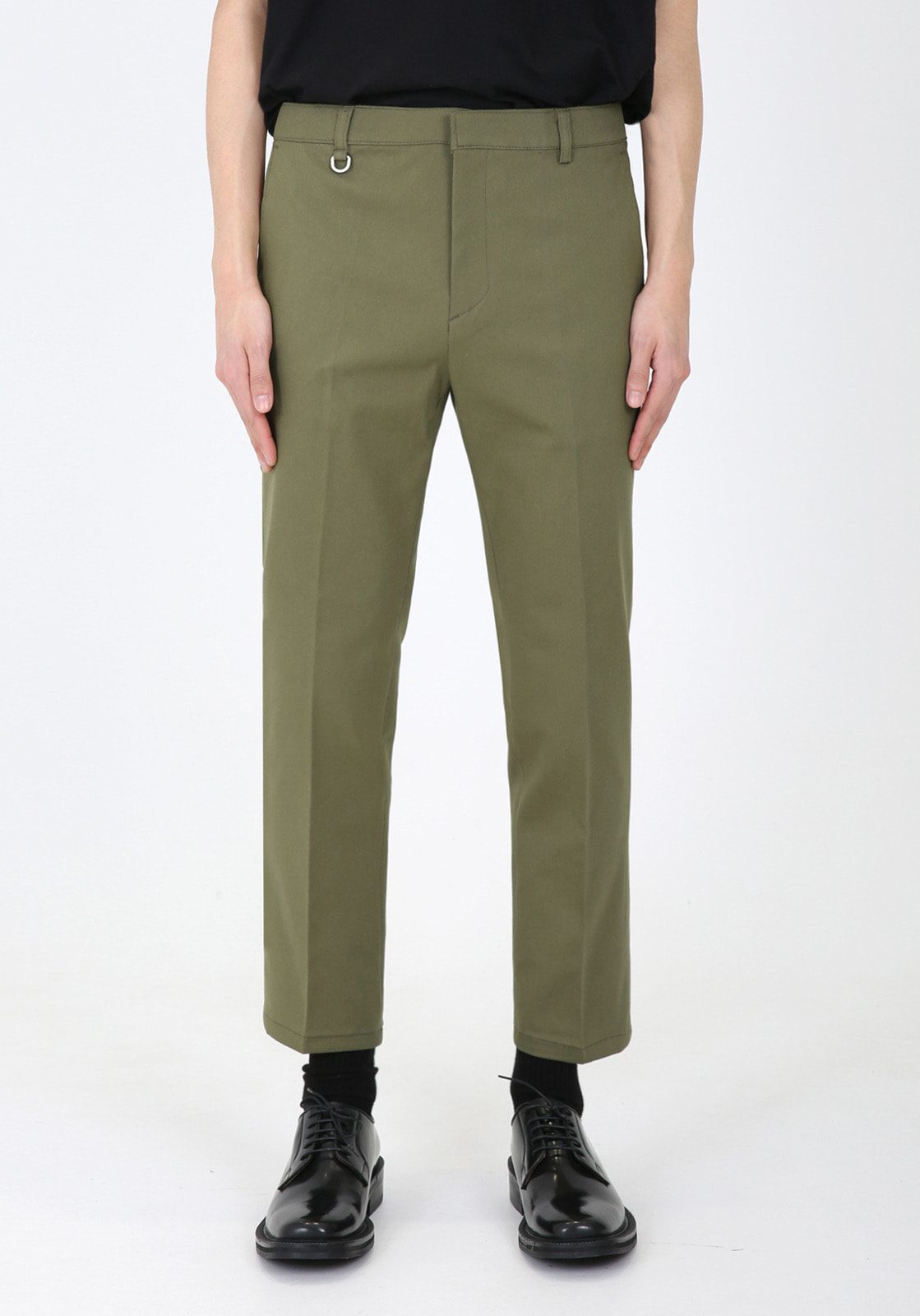 V311 JAMES BANDDING CROP CHINO PANTS  KHAKI