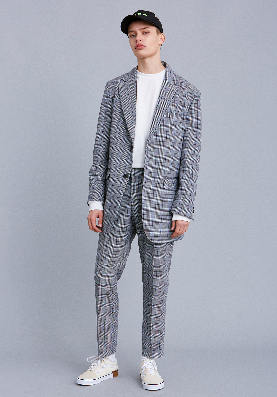 V642 80'S RETRO OVERSIZE CHECK JACKET  CHECK