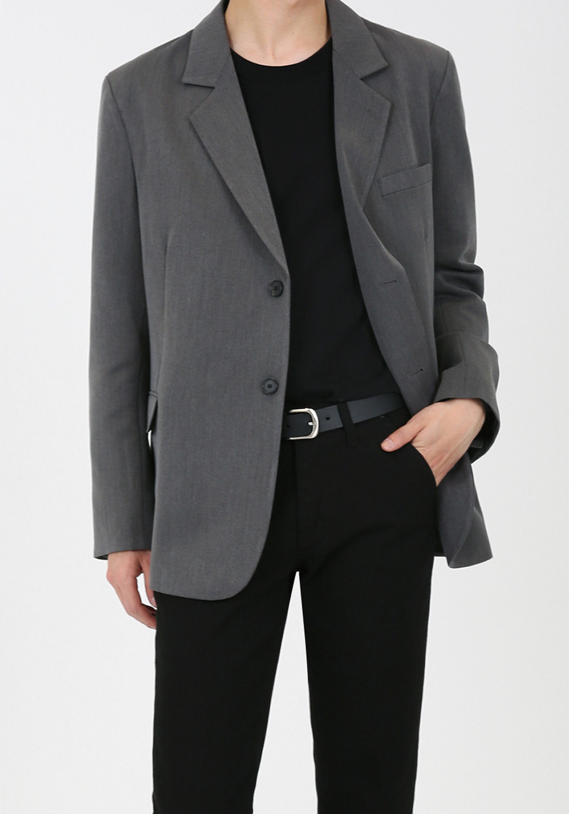 V005 OVERSIZE SINGLE JACKET  GRAY