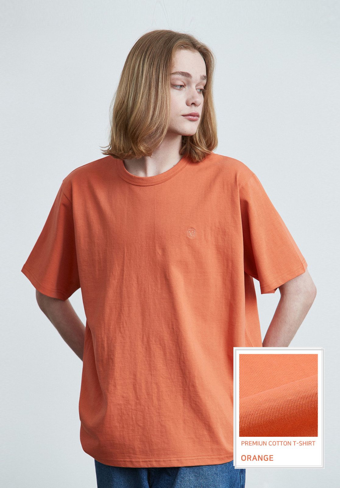 V017 PRIMIUM COTTON T-SHIRTS  ORANGE